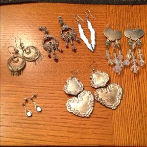 Jewelry - Bundle of dangly silver earrings
